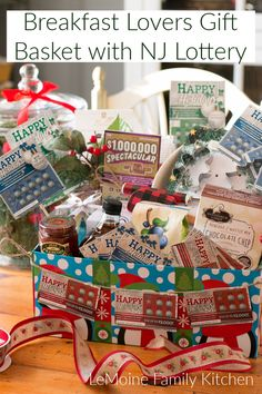 Breakfast Lovers Gift Basket with NJ Lottery - LeMoine Family Kitchen Lovers Gift, Gift For Lover, Christmas And New Year, Christmas Time, Scone Mix, Holiday Baskets, Themed Gift Baskets, Holiday List, Family Kitchen