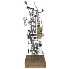 Abstract Metal and Glass Sculpture by Gertrude Schreiber, Cranbrook School | From a unique collection of antique and modern sculptures at https://www.1stdibs.com/furniture/decorative-objects/sculptures/