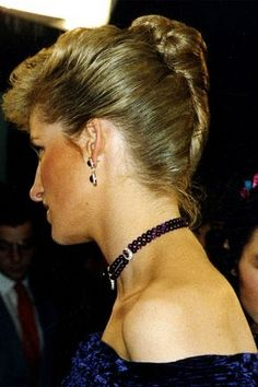 Diana in an elegant French twist updo while attending the Royal Film Performance of Empire of the Sun. Braided Hairstyles Updo, Elegant Hairstyles, Cool Hairstyles, Updo Hairstyle, Braided Updo, Wedding Hairstyles, African Hairstyles, Latest Hairstyles, Roman Hairstyles