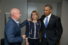President Barack Obama meets with former Rep. Gabby Giffords and her husband, Mark Kelly, on the fourth anniversary of the shooting that left Giffords gravely wounded, in Phoenix, Ariz., Jan. 8, 2015. (Official White House Photo by Pete Souza)