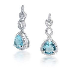 1edcbba1a These infinity loop CZ drop earrings have an unforgettable look.  Highlighting a trillion cut Aquamarine color CZ, these pave drop earrings  are enchanting.