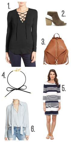 Fall wish list: lace up top, booties, choker, striped top, striped dress, backpack