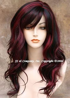 Love this burgundy hair color and length...