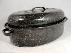 "Vintage Roasting Pan 14"" Oval Black White Speckle Enamelware Roaster Use it like crazy!"