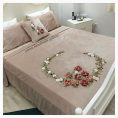 """It was almost February, when my nephew said to me: """"Aunt Fatima, we can bring you back . Ribbon Embroidery Tutorial, Embroidery Flowers Pattern, Silk Ribbon Embroidery, Hand Embroidery Designs, Embroidery Kits, Bed Cover Design, Cushion Cover Designs, Bed Sheet Painting Design, Colchas Quilting"""