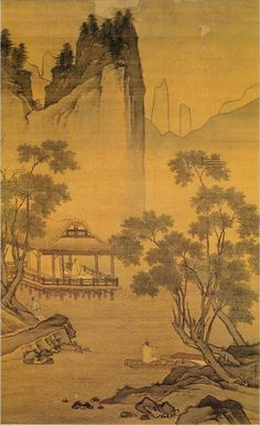 A man in a waterside pavilion appreciating bamboo flute melody from a boat -- an ink painting by Zhou Chen, a Ming Dynasty artist from Suzhou