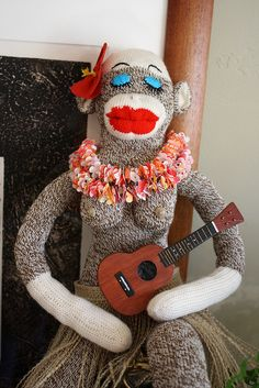 ...Hawaiian Sock Monkey...love her coconuts ;)...