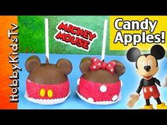 Mickey Mouse Apples with HobbyFamily Downtown Disney, Walt Disney, Disney Candy, Chocolate Apples, Candy Apples, Cauldron, Mickey Mouse, Parties, Cake