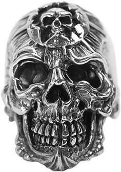 Jewelry 925 Sterling Silver Ring for Men Skull Head Vintage Punk Rings. Sterling Silver Wedding Rings, Wedding Rings Solitaire, Mens Silver Rings, Silver Man, Mens Emerald Rings, Skull Head, Skull Art, Fashion Rings, Rings For Men