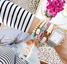 Colorful bracelet stack with watch | HOW TO STACK YOUR BRACELETS LIKE A PRO
