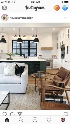 Once found only in the rear of the house, today's kitchen design takes the kitchen out the background. The challenge for kitchen design is in creat… Living Tv, Kitchen Living, Home Living Room, Living Spaces, Ideas Decoracion Salon, Home Interior, Interior Design, Apartment Decoration, Basement Remodeling