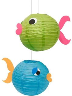 Colorful fish lanterns to hang in a playroom or a kid's bedroom.