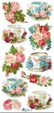 Tea Cups and Roses Victorian Stickers