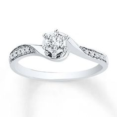 Diamond Promise Ring 1/6 ct tw Round-cut Sterling Silver