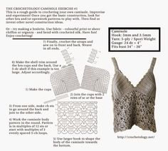 Crochetology by Fatima: Camisole Exercise No. Free crochet patterns, design and creation of embellishments and decoration for the body. Crochet Bikini Pattern, Crochet Diagram, Crochet Chart, Crochet Stitches, Crochet Patterns, Swimsuit Pattern, Crochet Bodycon Dresses, Crochet Blouse, Crochet Top