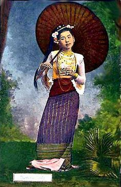 """This is the another Myanmar girl style in ancient times. The umbrella is famous and called """"Pathein Hti"""""""