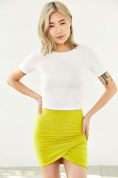 Bella Luxx Shirred-Front Skirt - Urban Outfitters