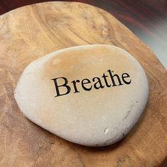 Engraved  Beach Pebble Message Stone - Breathe