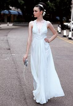 White A Line Evening Dress in Chiffon  55868 from elliotclaire london