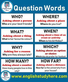Question Words, Definitions and Example Sentences in English; HOW Asking about a procedure or method How can I learn Spanish English Grammar Tenses, Teaching English Grammar, English Verbs, English Writing Skills, English Vocabulary Words, Learn English Words, English Phrases, English Language Learning, English Study