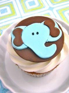 Cupcake Toppers Page 3 Fondant Elephant, Elephant Cupcakes, Animal Cupcakes, Fondant Cake Tutorial, Fondant Cupcake Toppers, Cupcake Cookies, Baby Shower Cupcakes, Cute Cupcakes, Shower Cakes