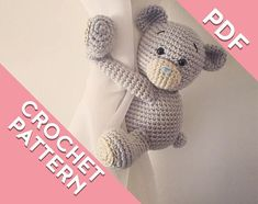 ******This is a downloadable PDF file crochet pattern*********** I have been making these tie backs that I have created and written myself for years. Now you will be able to make your own cute teddy bear curtain tie back with this crochet pattern. This is a PATTERN. A DIY tutorial to