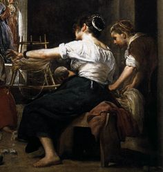 Velazquez -   Les fileuses, detail