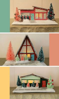 Mid Century Holiday Putz Houses  http://www.happinessisblog.com/happiness-is/2012/12/mid-century-holiday-putz-houses.html#