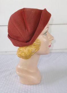 1930s Vintage Wool Crepe Rust Color Demi by MyVintageHatShop