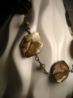 Mother of Pearl and Picasso Czech Glass Antique Copper Necklace by TwinFlameDesigns, $29.74