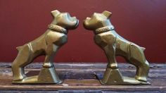 Vintage Brass French Bulldog Bull Dog MACK Hood Ornament Bookends Book Ends