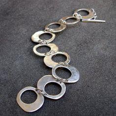 Sterling Silver Bracelet Hammered Silver Link by lsueszabo #silverbracelet