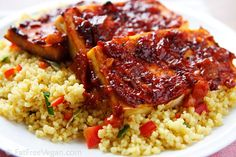 Tofu is baked in a homemade bbq sauce that can be sugar-free if you like. Sweet, tangy, smoky, and spicy as well as vegan and zero weight watchers points. Barbecue Tofu Recipes, Veggie Recipes, Whole Food Recipes, Vegetarian Recipes, Cooking Recipes, Bbq Tofu, Barbecue Sauce, Vegetarian Grilling, Gastronomia