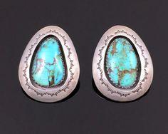 Navajo Handmade Sterling Silver Turquoise Shadowbox Earrings by Teddy Gooluck Jr   eBay