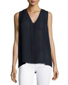 Vince Pinked-Edge High-Low Sleeveless Blouse, Coastal New offer @@@ Price :$265 Price Sale $199