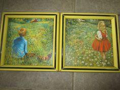 Vintage Elizabeth Kelley Yellow Framed Pair Girl & Boy in Field Kitschy Mid Century Mod