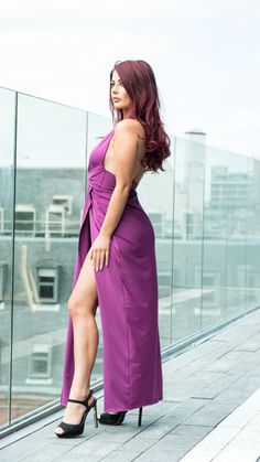 61405b68cd31 THE DRESS - Purple Maxi Dress with thigh high splits £47.99 Jessica Hayes,  Purple. Prodigal Fox
