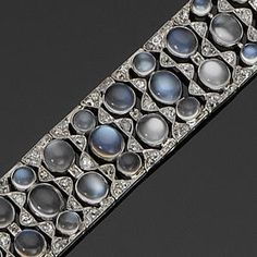 A moonstone and diamond bracelet