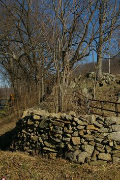 Virginia - dry-stack stone wall by Sue Browning