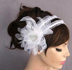 Bridal organza headband  stretchy elastic white by MammaMiaBridal, $40.00