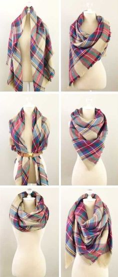 6 ways to tie a blanket scarf - http://www.amazon.com/dp/B016NEQLM2