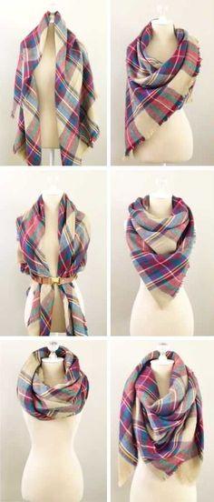 6 ways to tie a blanket scarf - http://www.amazon.com/dp/B016NEQLM2