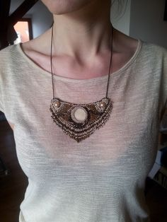 Neklace - Bead emboridery - Gold jewellery