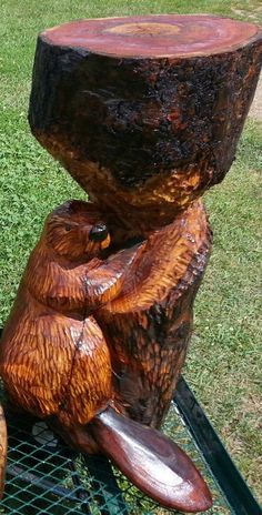 Beaver, Cherry Wood, Chainsaw Carving, Lawn Decoration, Chainsaw Art, Wood Statue, Carving