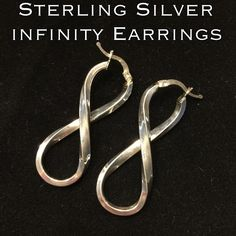 "Sterling Silver Large Infinity Earrings These are real nice, large Sterling Silver Infinity Earrings. Marked 925 SMY. Measures 1.75"" long X .5"" wide at widest point. These earrings are in great pre-owned condition! Ready to wear! Dress them up with a dress or down with your favorite pair of jeans! Would also make a great gift for someone special in your life 💕 Thanks for stopping by my closet! Ask any questions before buying. I ship out same day! Bundle & Save! Please make REASONABLE offer…"