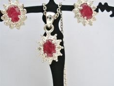 Ruby Diamond Set Valentine Sterling Silver Necklace Earrings Vintage Red Pendant | eBay