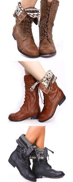 These are the perfect combat boot that a girl can wear two ways! Lace them up and tuck in tights, leggings or jeans for a clean look, or fold them over for an awesome pattern! Get your favorite color from Lollicouture.com