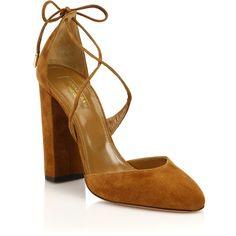 Aquazzura Karlie Suede Lace-Up Pumps (845 PLN) ❤ liked on Polyvore featuring shoes, pumps, lace up block heel shoes, cognac shoes, cushioned shoes, aquazzura pumps and aquazzura