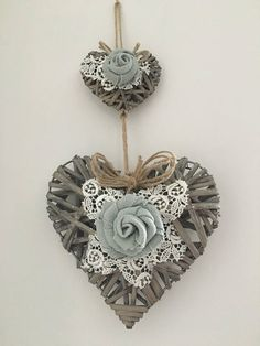 Wicker heart wall decoration shabby chic flowers.