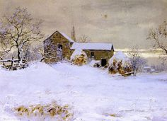 Farmhouse in Winter, 1890, watercolor by Walter Launt Palmer